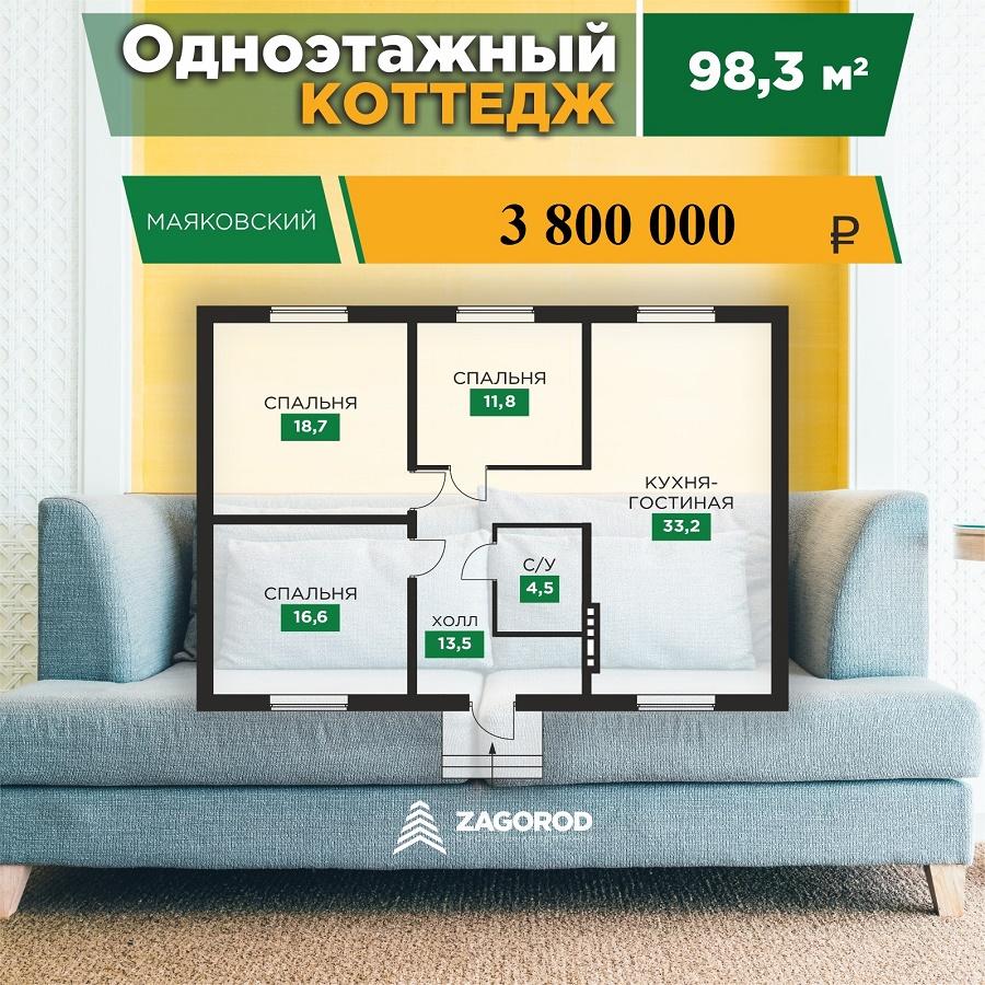 Коттедж «Маяковский» — 98,30 м2 | «Знатный Dvor»