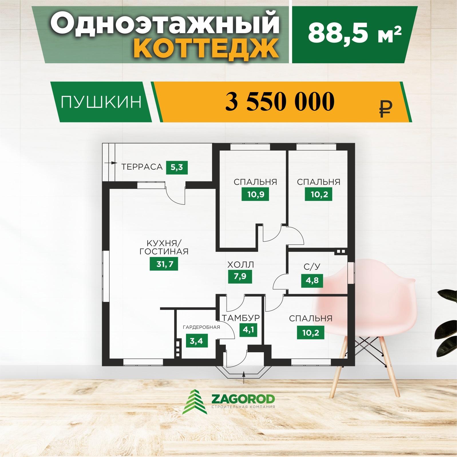 Коттедж «Пушкин» — 88,50 м2