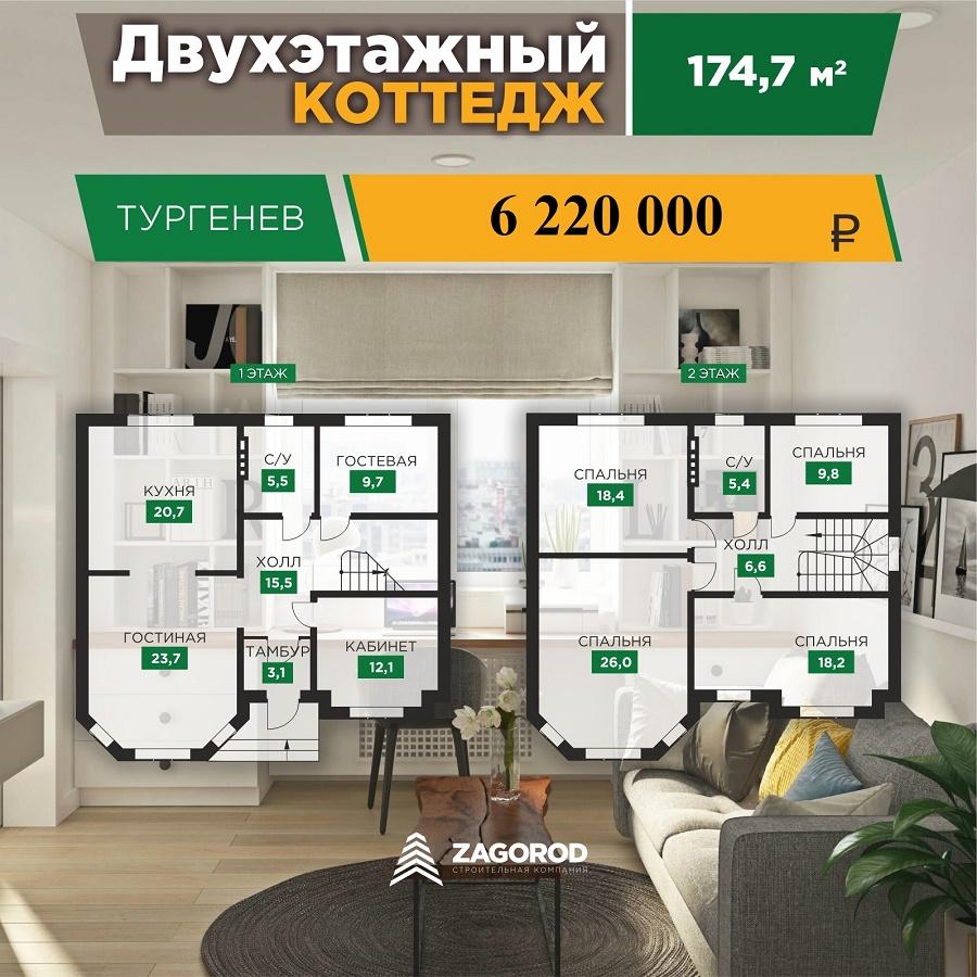 Коттедж «Тургенев» — 174,70 м2 | «Знатный Dvor»